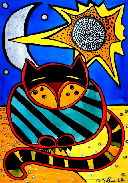 Cat Art titled Sun and Moon by Dora Hathazi Mendes