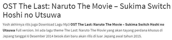 apa Judul Lagu Sountrack Musik The Last Naruto The Movie mp3 Full Original