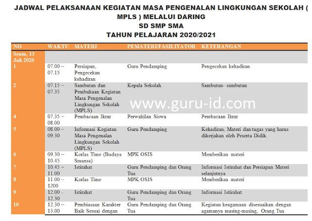 gambar jadwal mpls SMP SMA SMK daring 2020 2021