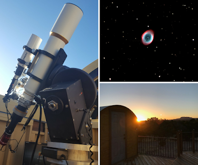 "ATEO-2:  5"" Williams Optics 132 FLT APO Refractor Imaging Telescope   with M57, the Ring Nebula and sunrise over it's observatory."