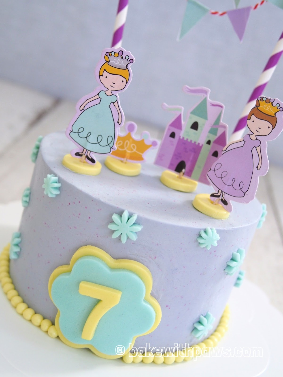 Princess Birthday Cake For My Niece It Is Two Layers Of 6 Inch Banana Pandan Chiffon And Icing With Swiss Meringue Buttercream Some Fondant
