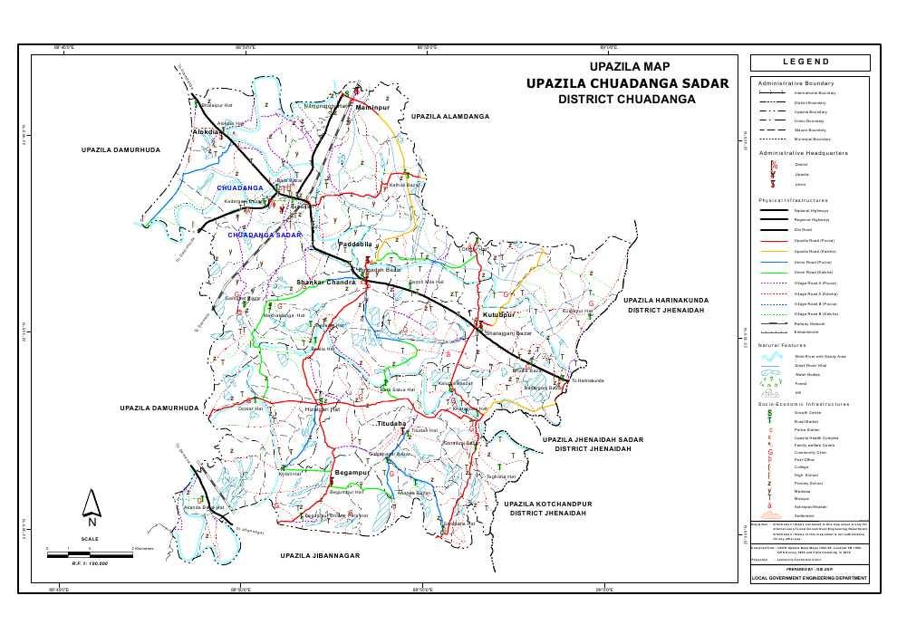 Chuadanga Sadar Upazila Map Chuadanga District Bangladesh
