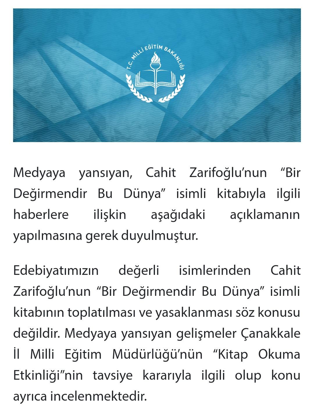 Cahit Zarifoğlu'nun Yasaklanması iddiası meb