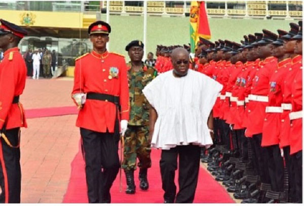 Photos: New Ghana president inspects guard of honor as he resumes work