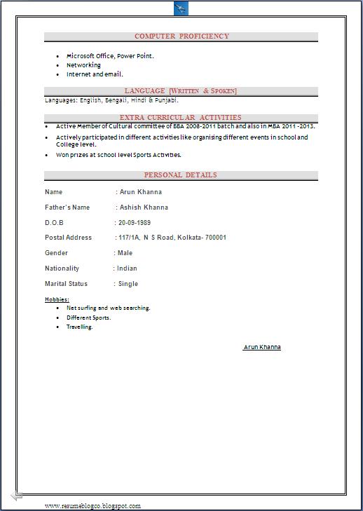 mba hr fresher cv sample sample resume fresher job application