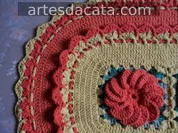Flor de crochê Bergamota para aplicar em tapete de barbante