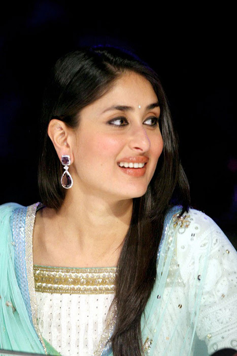 Bollywood Actress Kareena Kapoor Cute Smiling Stills In Blue Salwar