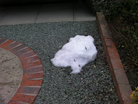 small pile of unmelted snow