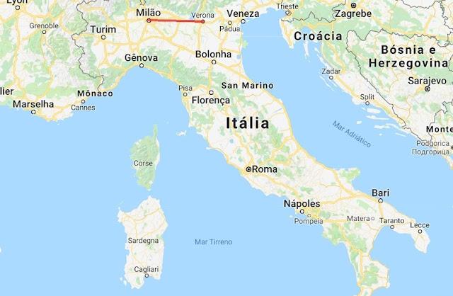 Mapa da viagem de Verona a Milão