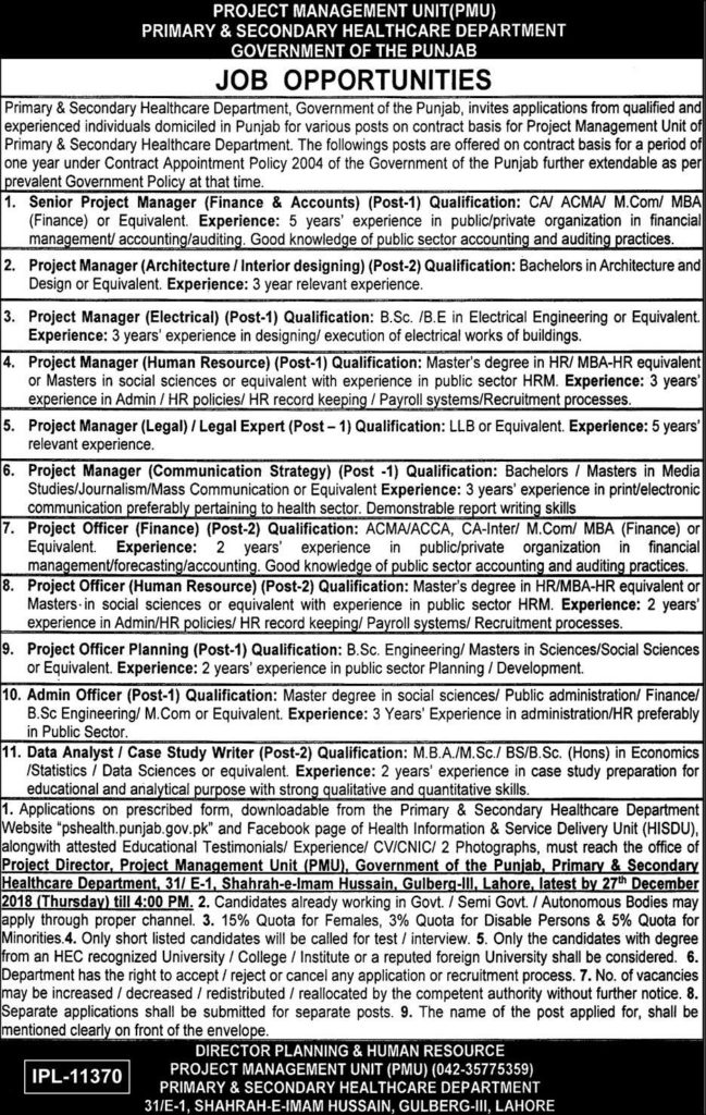 Primary And Secondary Healthcare Department Punjab Jobs December 2018