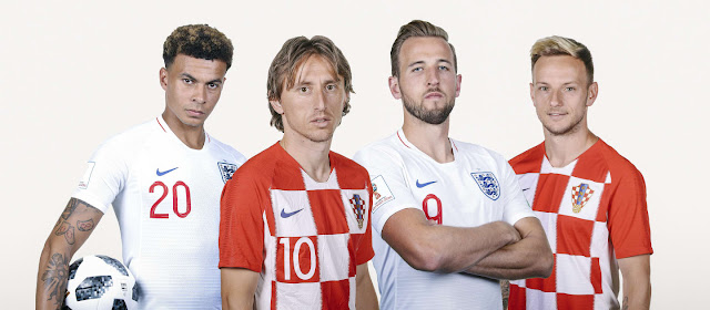 Dele Alli, Luka Modric, Harry Kane, Ivan Rakitic pose for promo photos for Croatia vs England world cup 2018 semi final match