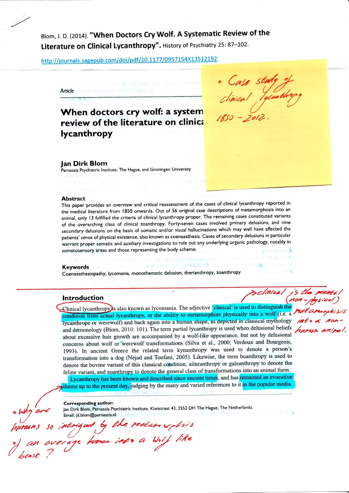 clinical lycanthropy case study