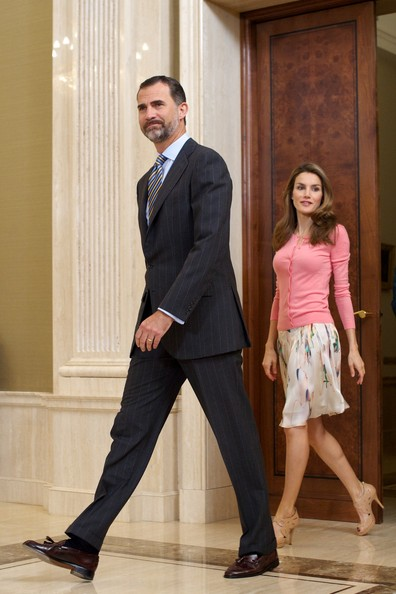 Crown Prince Felipe of Spain and Crown Princess Letizia of Spain attend several audiences at Zarzuela Palace