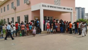 People Taking Vaccine At A Hospital In Angola