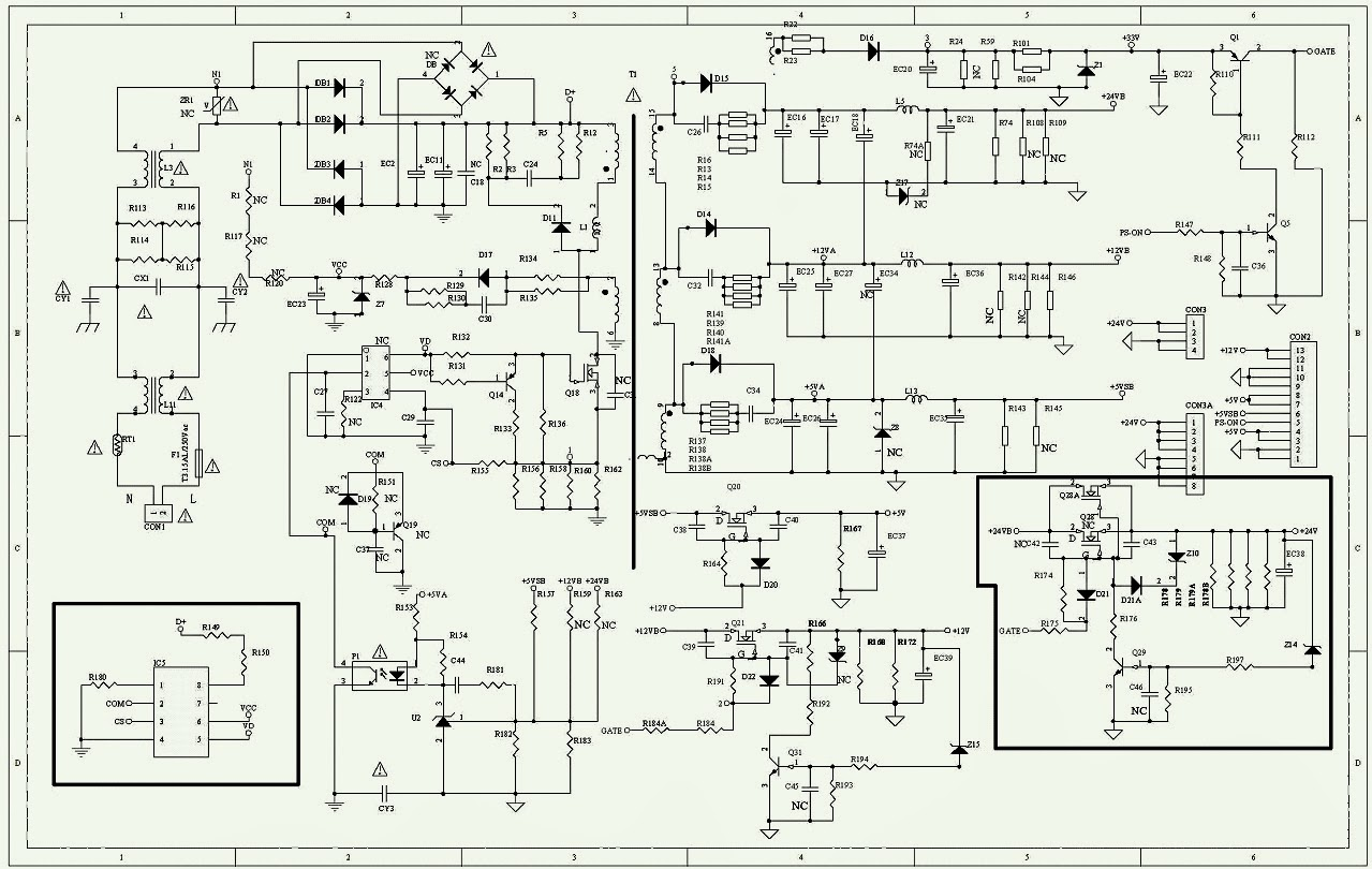led tv power supply schematic