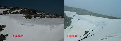 Comparativa nieve cornisas de Peñalara 2-6-2013 frente a 3-6-2018