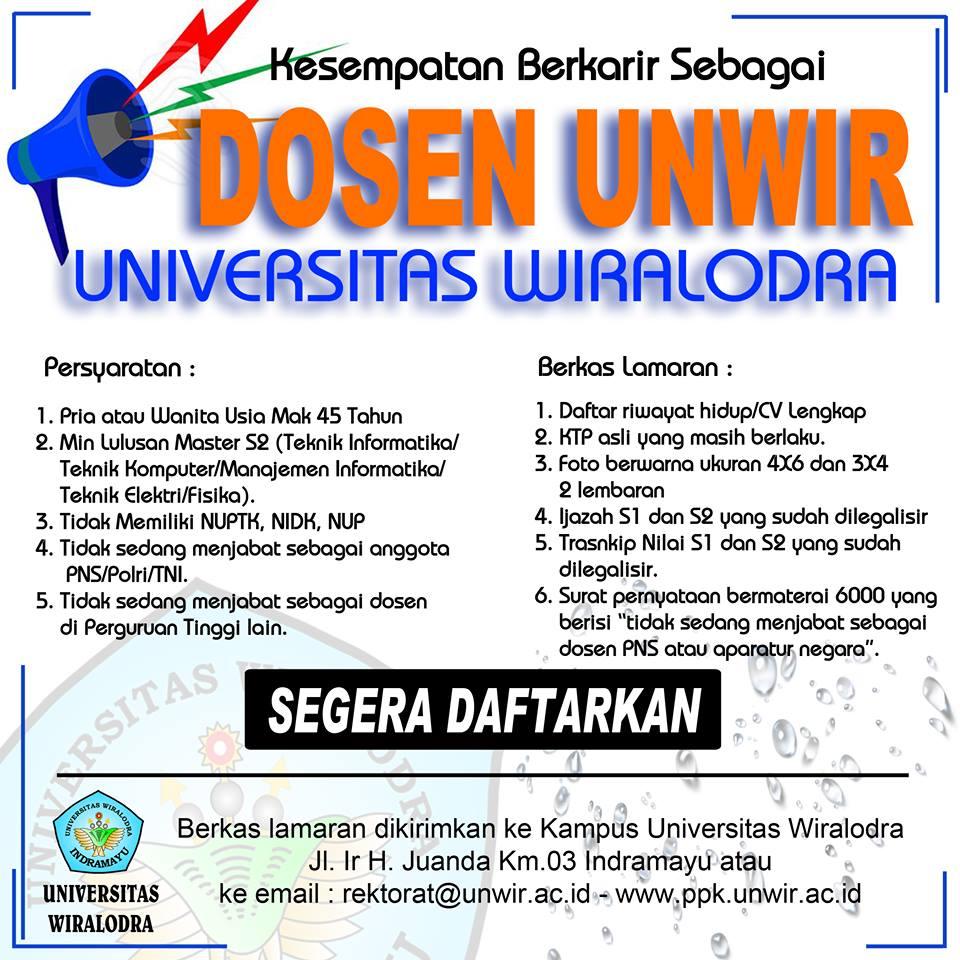 Lowongan Dosen Master Komputer Universitas Wiralodra (UNWIR) Indramayu