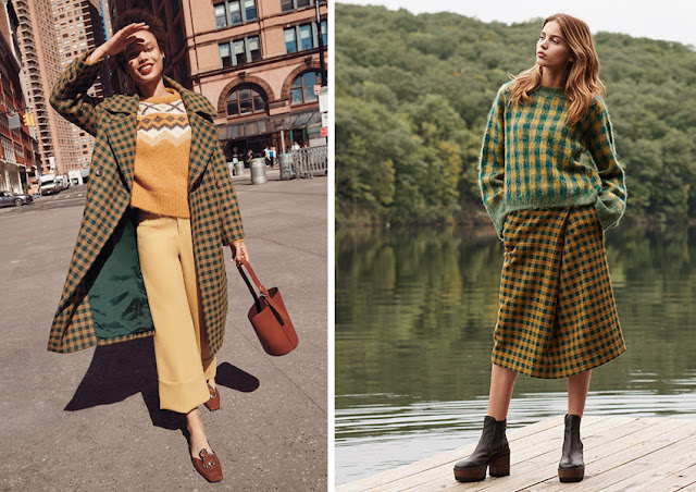 Пальто, юбка и свитер в пастушью клетку