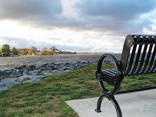 park bench, chesapeake bay, northeast river, storm