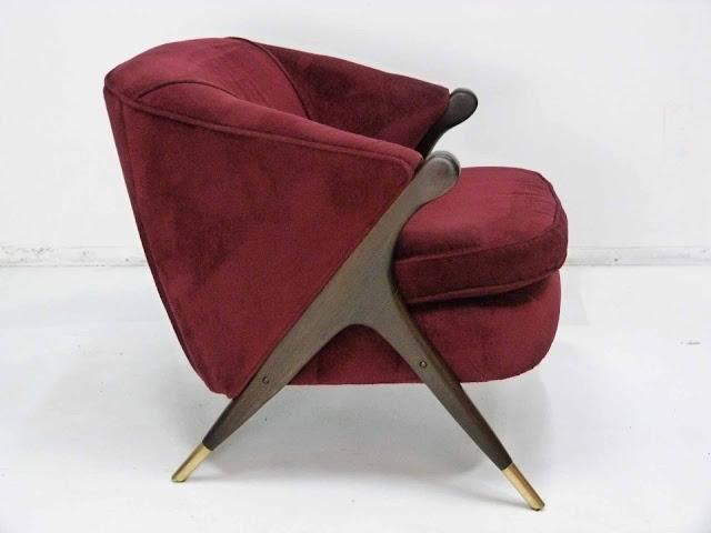 Karpen Modernist Lounge Chair Tripod Legs Brass Sabots mid century Side