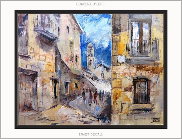 CORBERA D'EBRE-PINTURA-TERRA ALTA-TARRAGONA-CATALUNYA-PAISATGES-HISTORIA-GUERRA CIVIL-QUADRES-ARTISTA-PINTOR-ERNEST DESCALS-