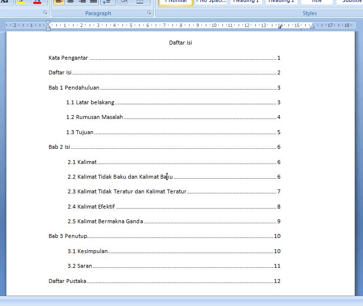 Cara Membuat Daftar Isi Di Microsoft Word 2007 Panduan Microsoft Office Word Power Point Excel
