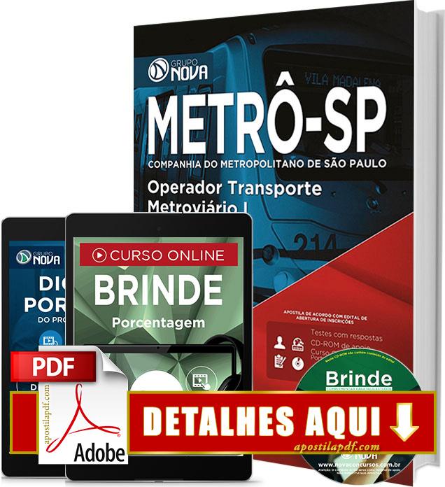 Apostila METRÔ SP 2016 Operador Transporte Metroviário Impressa