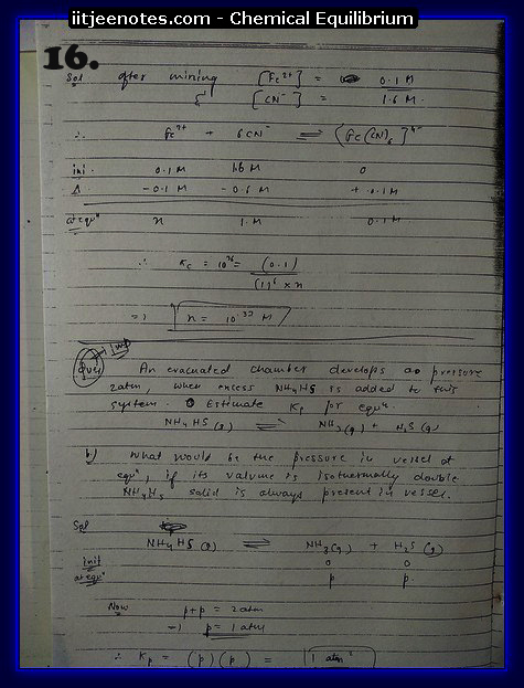 Chemical Equilibrium Notes IITJEE2