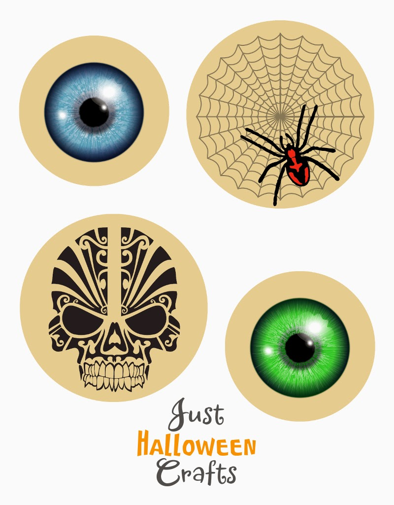 Blue eyeball, green eyeball, spider and web, skull designs to print out
