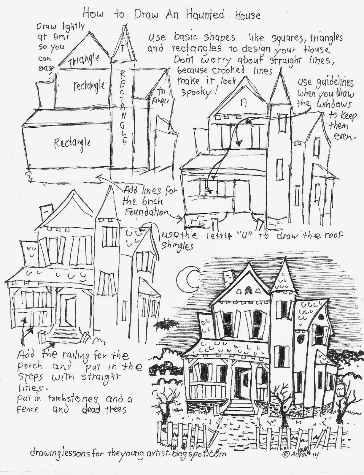 How to draw worksheets for the young artist how to draw a Haunted house drawing ideas