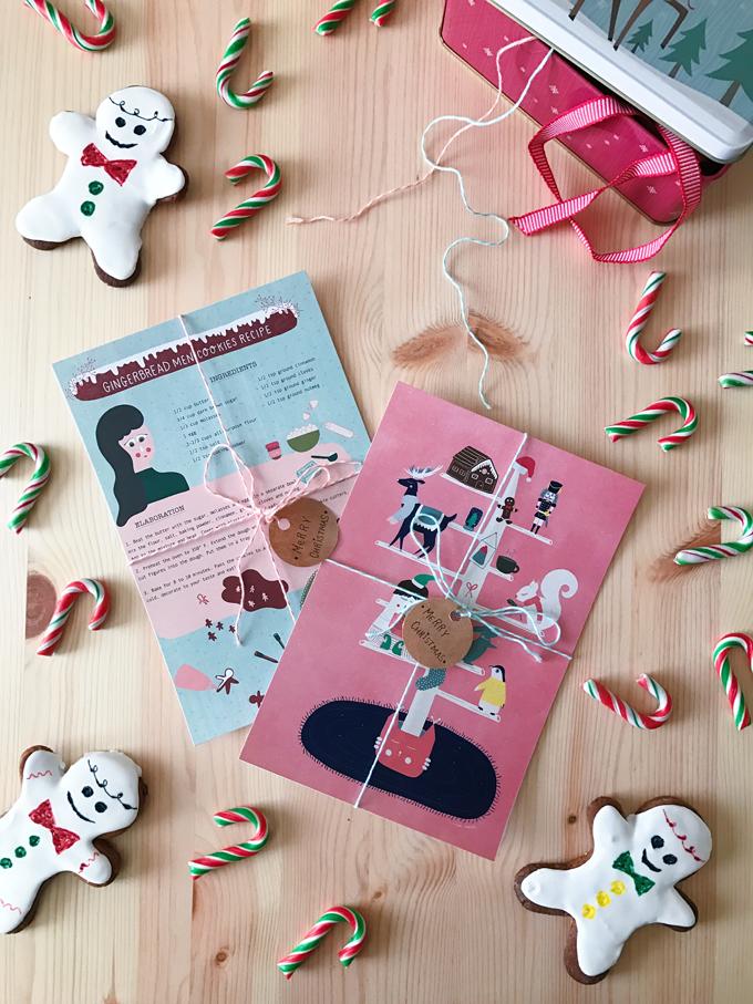 Happy mail navideño con ilustraciones