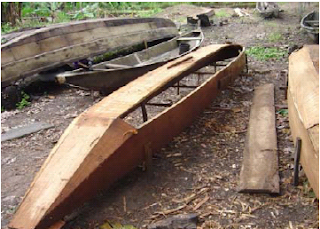 Lekki Lagoon planked canoe under construction
