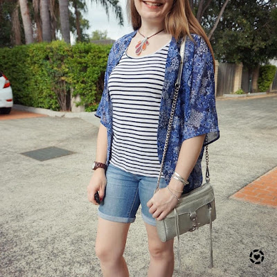 awayfromblue instagram print mixing with jeanswest jamie kimono stripe tank bermuda denim shorts