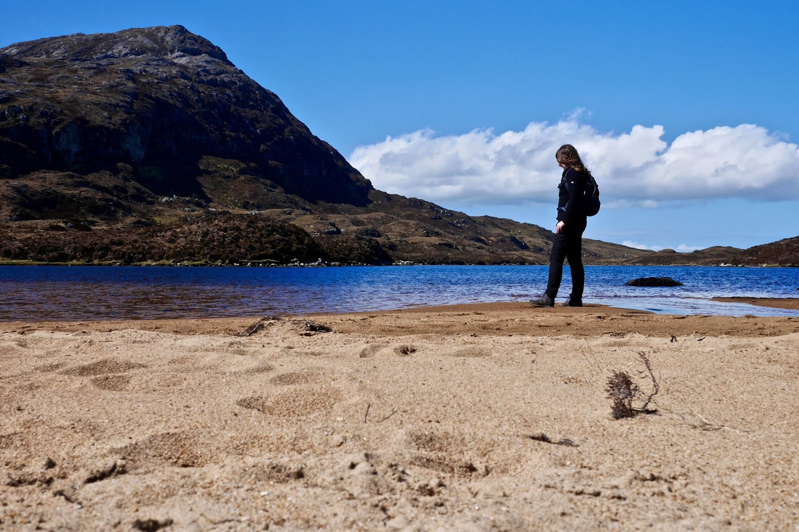 Climbing Eaval, Scotland,, Almost Chic and Cal McTravels during their Scottish Island Hopping in the outer Hebrides