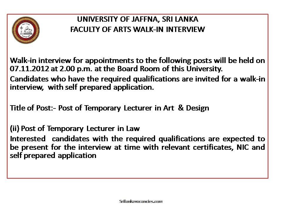Walk in Interview - University of Jaffna - Sri Lanka ...