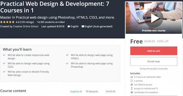 [100% Off] Practical Web Design & Development: 7 Courses in 1| Worth 199,99$