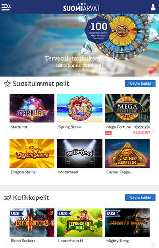 Suomiarvat Casino Games Screen