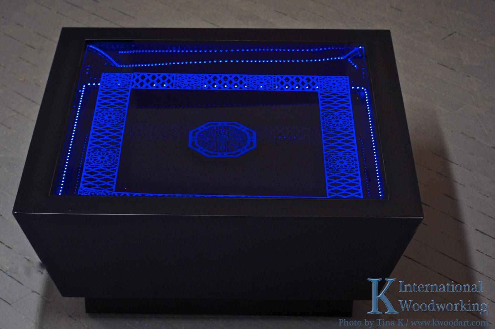 Custom Table Furniture Light Lights Blue Boston Led