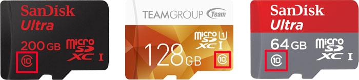 スピードクラス10対応のmicroSDカード 製品例