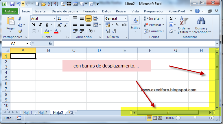 Excel Foro Ejercicios Ejemplos Soluciones Dudas Mostrar Barras De Desplazamiento Horizontal Y Vertical