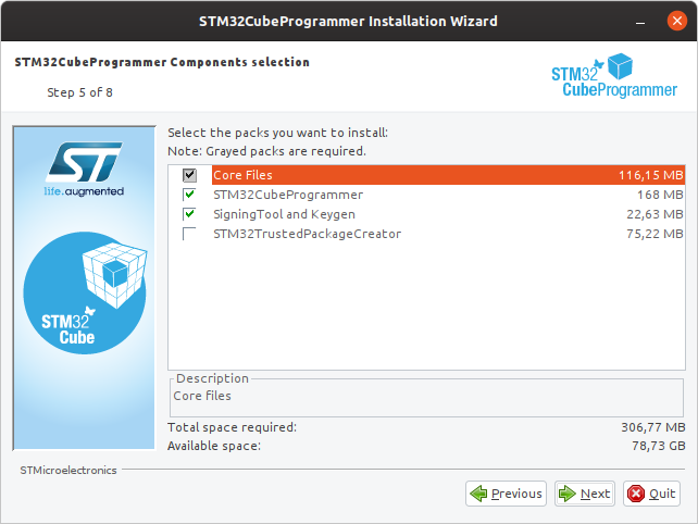 Install STM32CubeProg with default settings