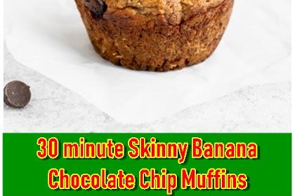 30 minute Skinny Banana Chocolate Chip Muffins