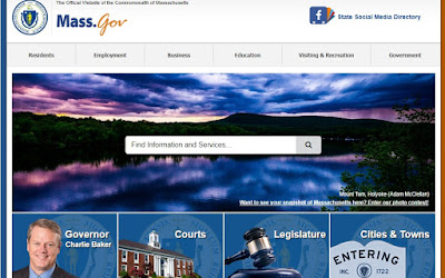 screen grab of MA.GOV home page