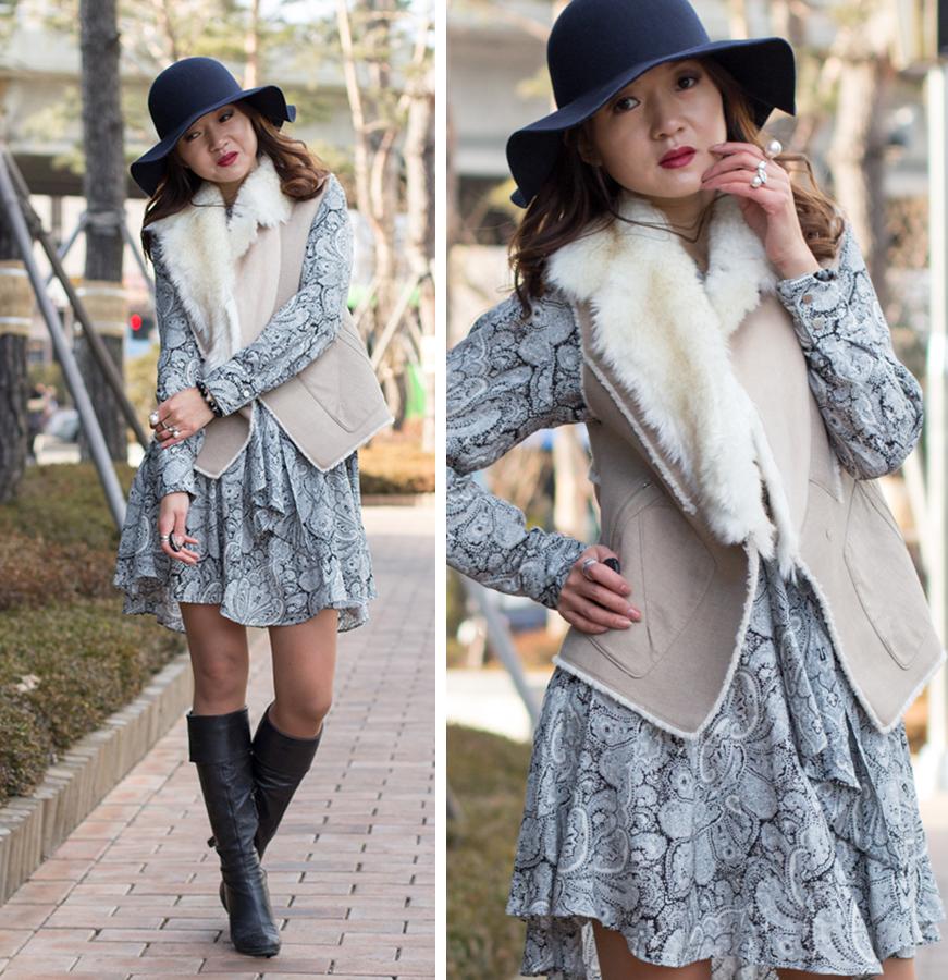 романтичный образ ботфорты, сапоги, платье, фетровая шляпа, меховой жилет, меховая жилетка, Сеул, мюзикл