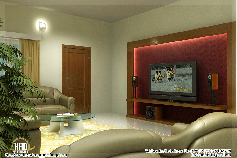 Beautiful living room rendering kerala home design and for Indian living room interior design photo gallery