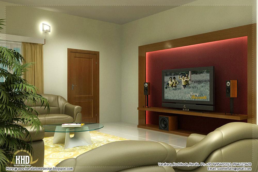 Beautiful living room rendering - Kerala home design and ...
