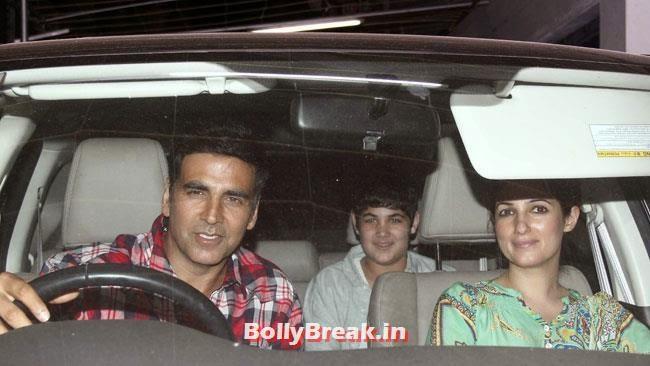 Akshay Kumar, Twinkle Khanna and Aarav, Sonakshi, Twinkle at Special Screening of Movie Holiday