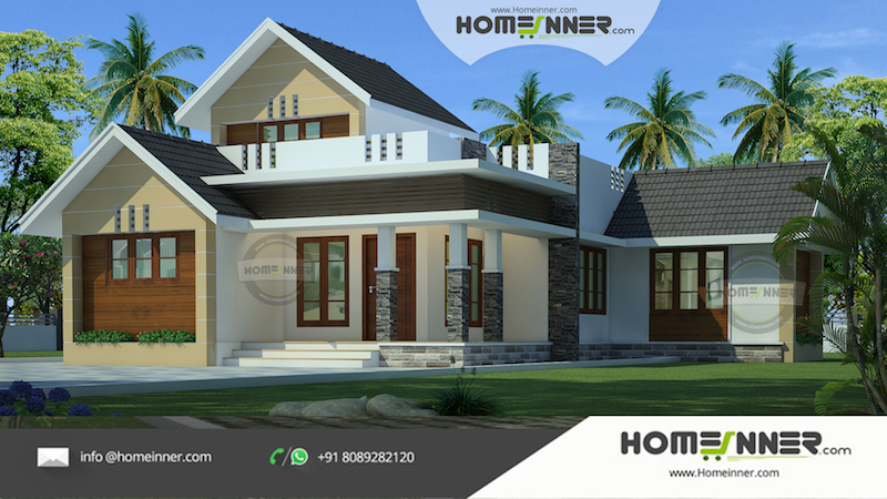 Small And Attractive 1500 Sqft 3 Bhk Indian Farm House Design