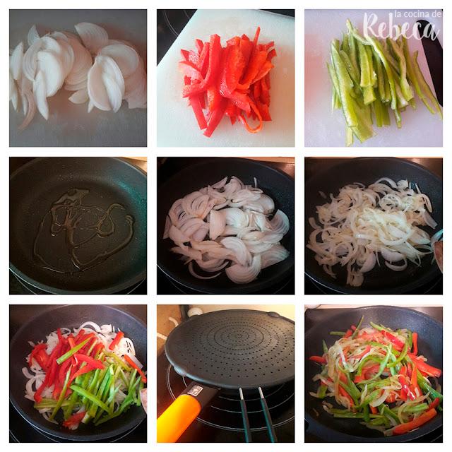 Receta de glass noodles con verduras y sésamo: salteado de las verduras