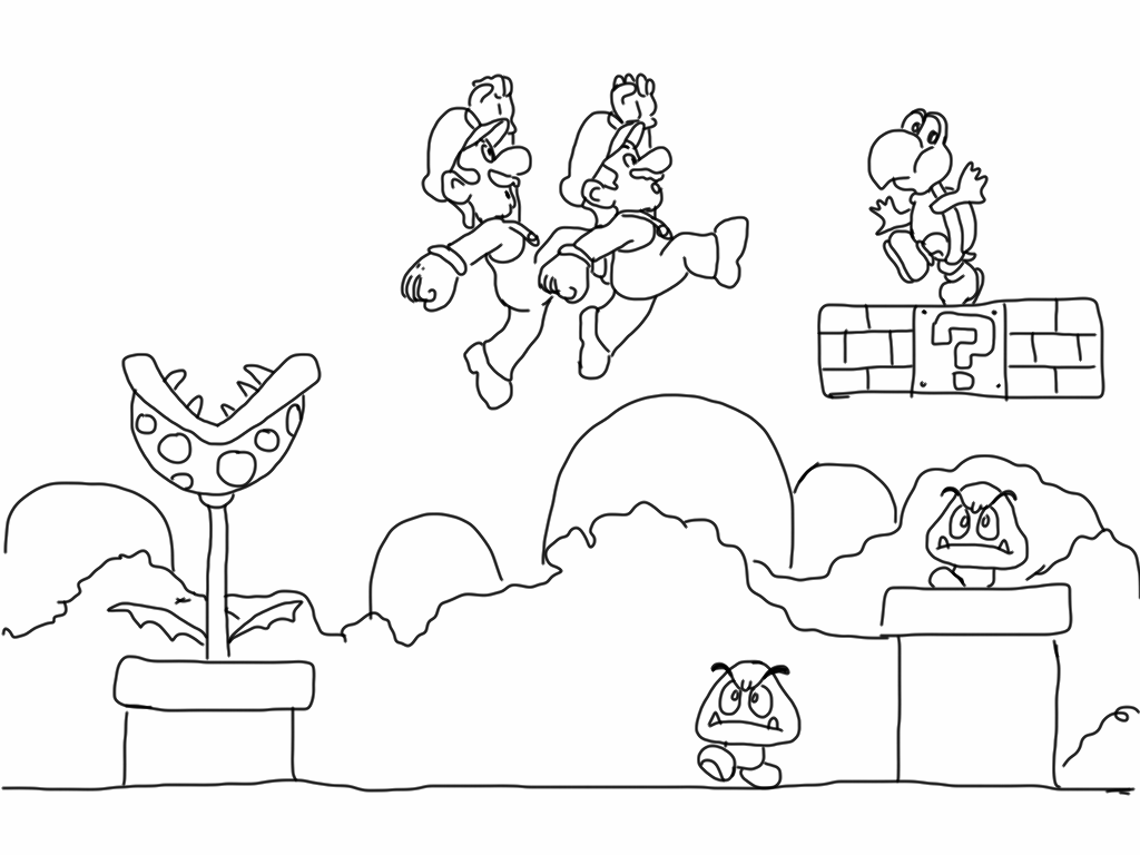 Free coloring pages of bad mario